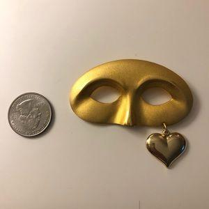 Vintage masquerade drop heart brooch